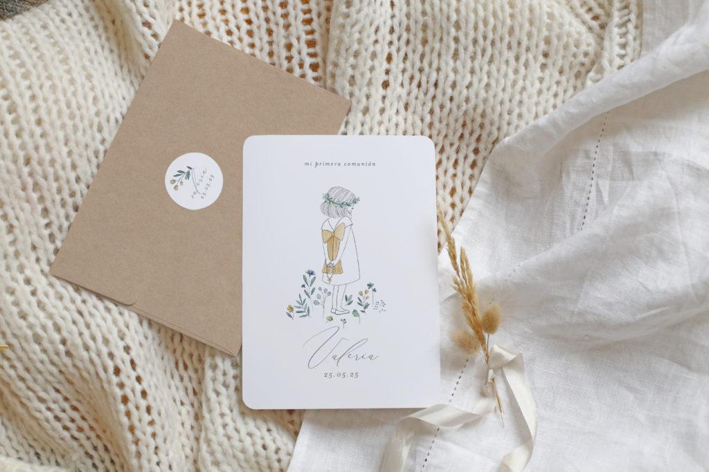 Recordatorios de comunión Personalizados Alma. Para invitar a tus amigos el día de tu primera comunión.